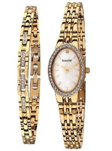 【送料無料】accurist crystal ladies bracelet and watch set lb1349