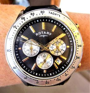 【送料無料】gents working ss rotary chronograph date watch gs0390604 for