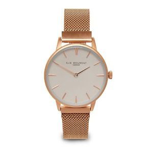 elie beaumont  aw18 rose gold mesh holborn watch