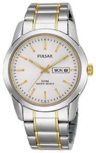 【送料無料】pulsar pj6023x1 mens steel gold 100m wr date watch