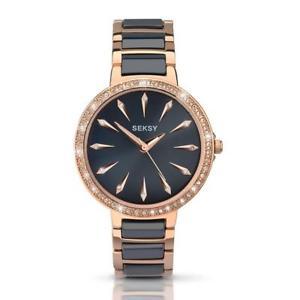 【送料無料】seksy ladies rose gold plated crystal set watch 2221
