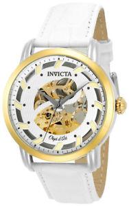 【送料無料】invicta objet d art 22635 mens white round skeleton automatic leather watch