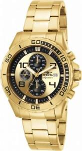 【送料無料】invicta signature ii 7472 mens round chronograph date gold tone analog watch