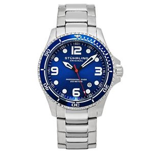 【送料無料】stuhrling grand regatta mens diver silver steel link bracelet watch 593332u16