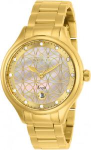 【送料無料】invicta womens angel quartz 100m mop gold tone stainless steel watch 27434