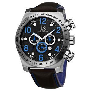 【送料無料】 mens joshua amp; sons js14bu oversized chronograph genuine leather watch