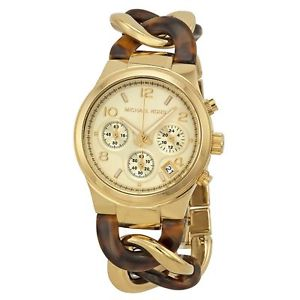 【送料無料】michael kors mk runway chronograph gold tone wristwatch mk 4222 rrp 229