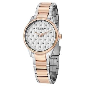 【送料無料】stuhrling culcita womens 36mm silver steel bracelet amp; case quartz watch 56703