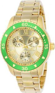 【送料無料】invicta womens angel analog display chronograph quartz gold watch 21768