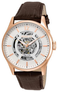 【送料無料】invicta objet d art 22596 mens round white automatic analog leather watch
