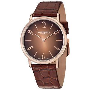 【送料無料】stuhrling cuvette contra mens 38mm brown calfskin krysterna watch 140a03