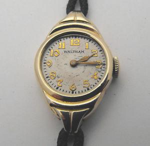 【送料無料】vintage art deco 10k gold filled ladies waltham nice running classic watch