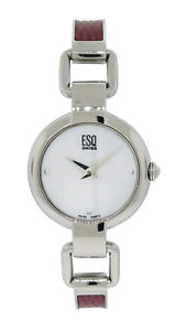 【送料無料】esq swiss es409 womens round analog mother of pearl cranberry steel watch