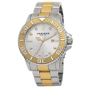 【送料無料】mens akribos xxiv ak674ttg classic date twotone stainless steel bracelet watch