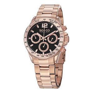 【送料無料】soamp;co york mens 50014 monticello quartz gmt 16k rose goldtone watch