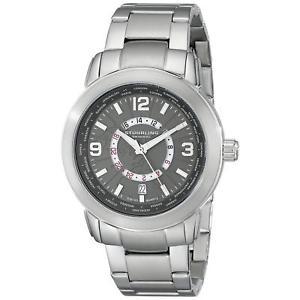 【送料無料】stuhrling renegade 654 mens 42mm silver steel bracelet amp; case date watch 65402