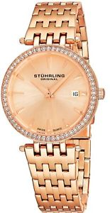 【送料無料】stuhrling garland womens 34mm rose gold steel bracelet amp; case date watch 57904