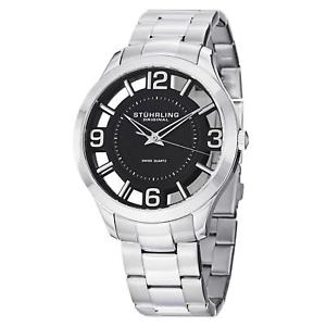 【送料無料】stuhrling winchester 754 mens 42mm silver steel bracelet amp; case watch 75402
