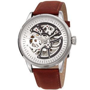 【送料無料】spring release mens akribos xxiv ak1018ssbr exhibition leather strap watch
