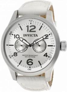 【送料無料】invicta specialty 12170 mens round analog day date white leather watch