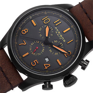 mens akribos xxiv ak705bkbr swiss chronograph brown leather strap watch