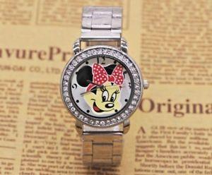 【送料無料】unusual crystal minnie mouse adult stainless steel watch b