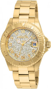 【送料無料】invicta women angel quartz glittered 200m gold tone stainless steel watch 22707