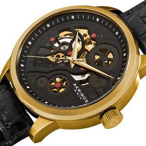 mens akribos xxiv ak538yg goldtone automatic skeleton leather strap watch
