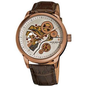 【送料無料】 mens akribos xxiv ak538br rosetone automatic skeleton leather strap watch