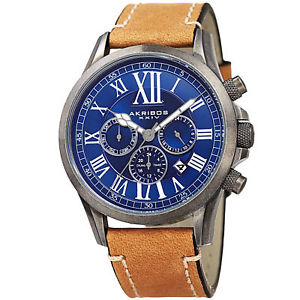 mens akribos xxiv ak897ssbu dual time zone leather with stitching watch