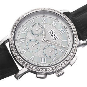 womens burgi bur087bk swiss quartz crystal bezel multifunction leather watch