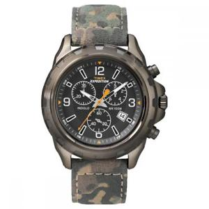 【送料無料】orologio uomo timex expedition t49987 chrono pelle militare camouflage nero