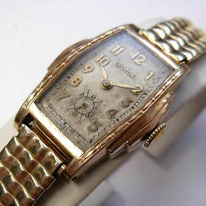 【送料無料】vintage 1930s swiss croton men's stepcase art deco watch