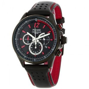 pt3547x1  pulsar gents chronograph leather strap watch