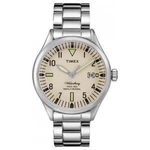 【送料無料】orologio uomo timex the waterbury tw2p84500br bracciale acciaio beige sabbia