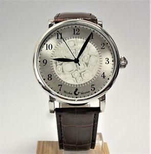 【送料無料】orologi uomo acciaio pelle marrone watch in vetro di murano murrina millefiori