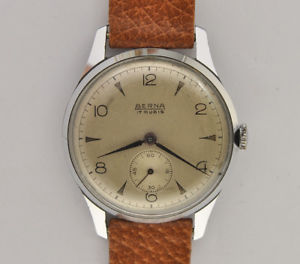 【送料無料】berna, orologio uomo meccanico manuale vintage 1950 34mm steel watch working