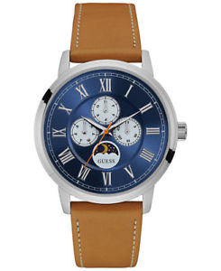guess mens chronograph tan leather strap watch 44mm u0870g4 brand