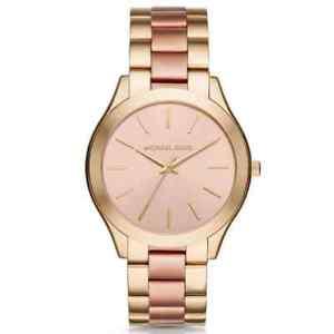 【送料無料】michael kors runway slim stainless steel twotone womens quartz watch mk3493