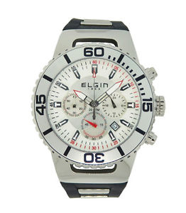 【送料無料】elgin 1863 156021 mens white amp; silver tone chronograph date silicone watch