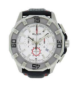【送料無料】elgin 1863 121091 mens white analog chronograph stainless steel leather watch