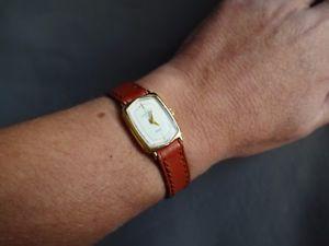 michel herbelin france montre bracelet cuir marron pl or femme lady woman watch