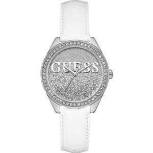 【送料無料】orologio guess glitter girl w0823l1 watch pelle bianca bianco donna zirconi