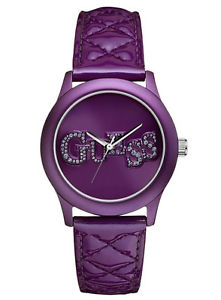 guess women quilted purple strap  watch u96004l1 ,with original guess  box