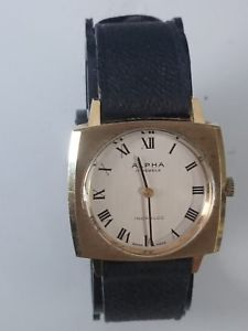 vintage mens rare alpha 17 jewels square watch gold plated