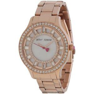 【送料無料】 womens betsey johnson rose gold crystal glitz watch bj0015720 155