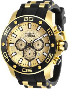 invicta mens pro diver chrono 100m gold tone s steel silicone watch 26088