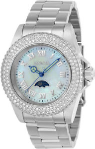 invicta womens sea base mother of pearl ssteel crystal embellished watch 23829