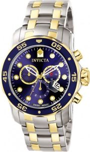 invicta mens pro diver chronograph two tone stainless steel 200m watch 0077