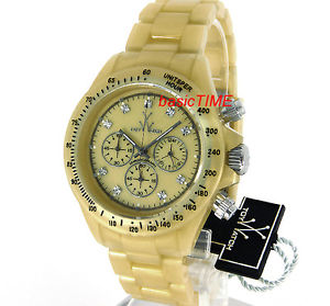 toy watch ladies pearlized plasteramic chronograph gold flp07gd